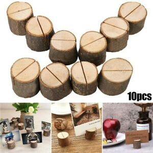 10pc Wood Base Table Card Holder Label Photo Stand Tag Wedding Party Display Set