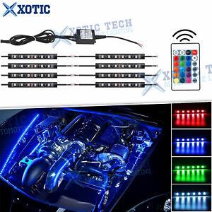 8x RGB Multi-Color LED Engine Bay or Under Car Lighting Kit w/ Wireless Remote
