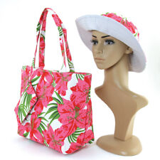 NEW 3 PC SET PINK+GREEN+WHITE FLORAL CANVAS TOTE BAG+WRISTLET+HAT