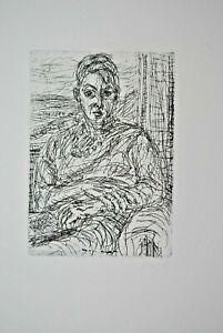 Max Uhlig Portrait sitzende Handsigniert Radierung auf Bütten 1965
