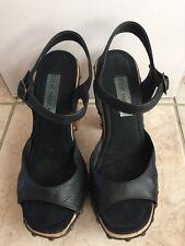 STEVE MADDEN Black Wood & Leather High Heel Platform Sandals Sz 6