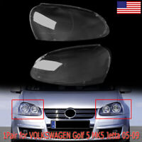 Pair Front Headlight Lenses Cover Lens For Volkswagen Golf 5 MK5 Jetta 2005-2009