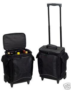 Rolling 6 Beverage Pack Padded Red Wine Glass Bottle Organizer Bag Case Storage