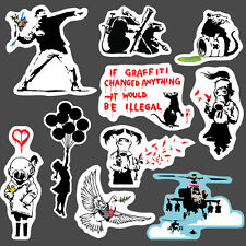 10x Banksy Sticker set vinyl graffiti street art stencil car bmx skate decal