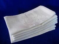 Set of 8 Creamy White/Lt.Beige Damask Design Dinner Napkins - NEW