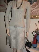 Stunning vtg 60s silver metallic knit belted evening cocktail party dress S XS