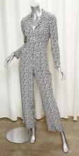 CHANEL 03C Womens Black+White Geometric Print Silk Long-Sleeve Jumpsuit 34/2/XS