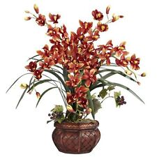 Decorative Natural Looking Artificial Burgundy Cymbidium Orchid Vase Silk Plants