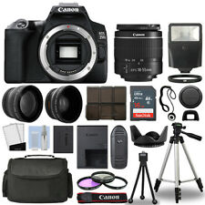 Canon EOS 250D / Rebel SL3 SLR Camera + 3 Lens Kit 18-55mm + 16GB + Flash & More