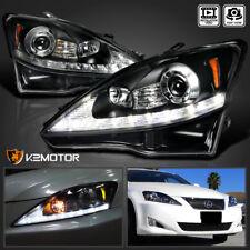 2006-2009 Lexus IS250 IS350 Black LED DRL+Turn Signal Strip Projector Headlights