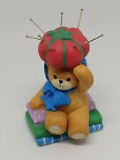 Vintage Lucy & Me Bear-Enesco-1997 -Sitting on Fabric With Pin Cushion Hat -J66