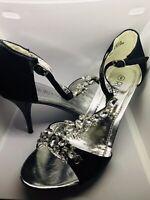 Ladies Shoes Prom Size 4 Open Toe Stiletto  'Black Diamanté  Ruby Prom Heidi