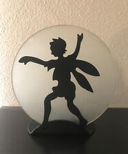 Fairy Candle Holder Faerie Moon Black Shadow Tealight Pixie Vtg 90's Metal Glass