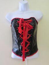 Super Sexy PVC Corset Bandeau Bodice Basque Lace Up Small UK 8/10 EU 36/38 Black