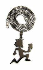 24' Box Chain Hip Hop Fashion Necklace Stainless Steel Black Hatchet Man & 2mm