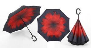 REVERS Umgekehrter Regenschirm Schirm Windsicher 2-Schicht Membran, Blume