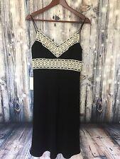 NWT Ann Taylor Women's Dress  Size 4 Black Shift Ivory Lace Trim