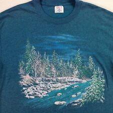 vtg 90s Running River T-Shirt sz XL Forest Woods Outdoors Chillwave USA Made