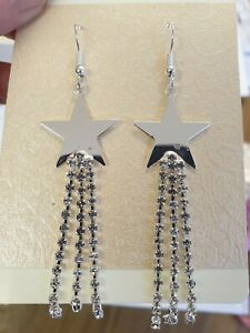 Crystal Rhinestone Sparkle Silver Tone Star Drop Tassel Earrings