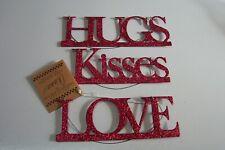 Annie Schickel Valentine's Day Wire/Metal Hanging Word Ornaments Set of 3 New