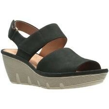 33bc9475f12e Womens BN Clarks Clarene Allure Womens Wide Wedge Heel Sandals SIZE 8 Black