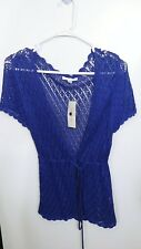 John Paul Richard short sleeve knitted cardigan with front button and drawstring