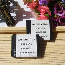2pcs Battery for GoPro AHDBT-001 Hero 2 HD2-14 ABPAK-0014 AHDBT-002 HD Hero 2