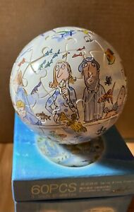 """Jimmy Liao 60pcs globe puzzle - Swing Alone Freely 幾米 自游自在 3"""" diameter"""
