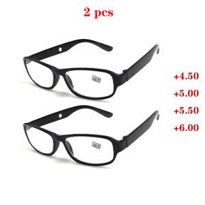 2 pcs Reading Glasses +4.50 5.00 5.50 6.00 Highly Strength Plastic Frame Reader