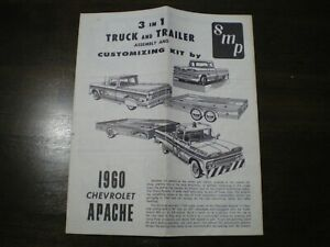 """SMP """"1960 Apache Pick up """" Original 3-in-1 Model Car Instruction sheet from 1960"""