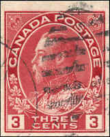 1924 Used Canada 3c Imperforate F-VF Scott #138 King George V Admiral Stamp