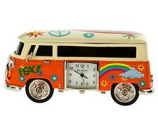Miniature Orange Camper Van - Caravan Novelty Desktop Collectors Clock 9089