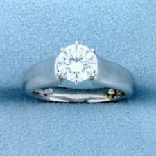1.00 Ct Round Brilliant Cut Moissanite Silver Solitaire Simple Engagement Ring