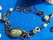"""1/2"""" wide designer handcrafted Sarasota artist Copper Brass tone 7"""" bracelet"""
