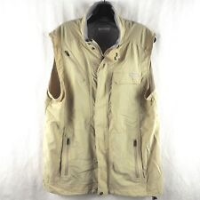 Columbia Men's Omni-Shade Vest Full Zip Sun Protection Fish Hike Beige Large