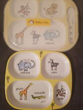 Baby Cie Melamine Sectioned Plates Zoo Animals Open Box