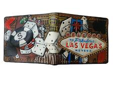 Men's 3D Genuine Leather Wallet, Carved, California Republic, Las Vegas, Casino