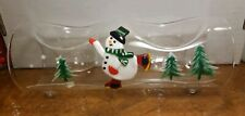 SNOWMAN Yule Log Glass Votive / Tea Light Candle Holder HAND PAINTED