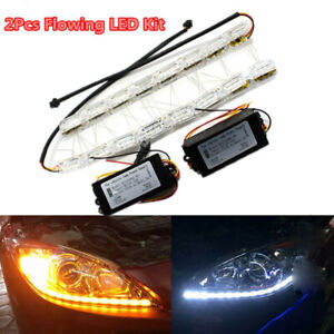 2Pc Car Switchback LED Daytime Run light Sequential DRL Flow Turn Signal Lights