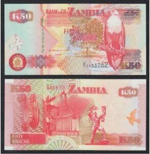 Zambia Banknote 50 Kwacha 1992 (UNC) 全新 赞比亚 50克瓦查 1992年