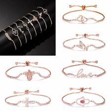 Fashion Rose Gold Crystal Zircon Chain Bracelet Women Charm Cuff Bangle Jewelry
