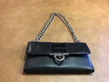 Brighton Black Leather Wallet Adjustable Chain Handle Used