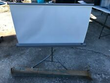 Vintage Da-Lite Movie Projector Screen Tripod 40 X 40 White Flyer - 6ft Tall