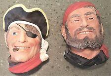2 Vtg Legend Chalk Head Busts The Pirate & Corsair Wall Decor Hanging England