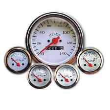 Veethree Gauge Set Classic White 5 Gauge Instruments Mechanical Speedo CYBCE5716