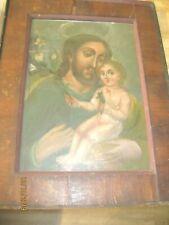 ANTIQUE RETABLO ON TIN SAINT  JOSEPH HOLDING BABY JESUS FRAMED BEAUTIFUL PIECE