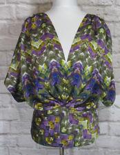 Anthropologie FEI Top Womens Medium Olive Purple Gold Dolman Geo Blouse #7002