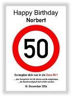 Verkehrszeichen 50 Geburtstag Deko Bild Geschenk persönliches Verkehrsschild NEU