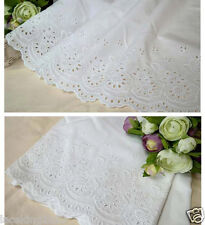 """1y Broderie Anglaise Embroidery cotton lace  White 24"""" (60cm) yh490 laceking2013"""