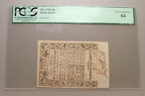 1786 Rhode Island 40 Shillings Colonial Currency Note PCGS Very Choice New 64